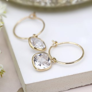 Gold plated fine hoop and square crystal drop earrings | Image 3