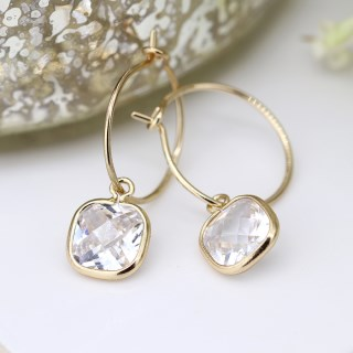 Gold plated fine hoop and square crystal drop earrings | Image 4
