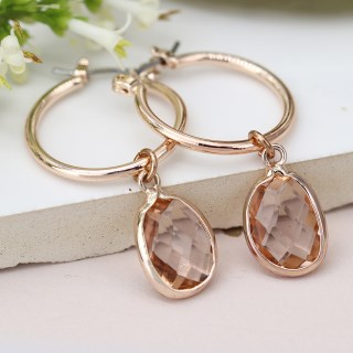 Rose gold hoop and blush crystal drop earrings | Image 2