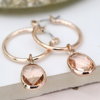 Rose gold hoop and blush crystal drop earrings | Image 3