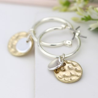 Silver plated hoop, hammered gold and silver disc earrings | Image 3