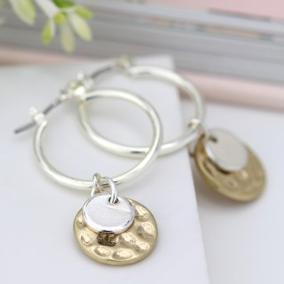 Silver plated hoop, hammered gold and silver disc earrings | Image 4
