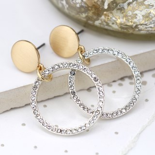 Brushed gold disc and silver plated crystal hoop earrings | Image 3