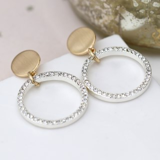 Brushed gold disc and silver plated crystal hoop earrings | Image 4