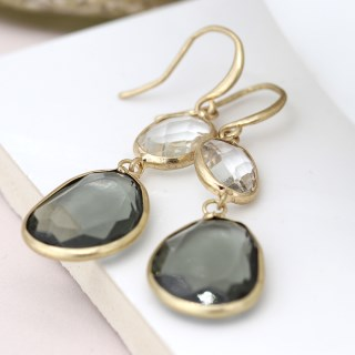 Gold plated smoky and clear crystal drop earrings | Image 3