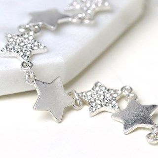 Worn silver plated multi star necklace with crystals | Image 2