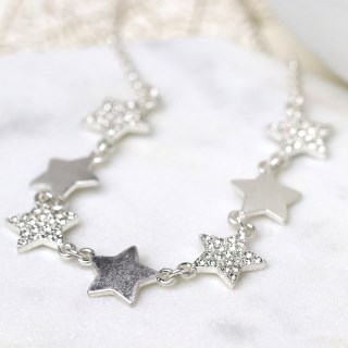 Worn silver plated multi star necklace with crystals | Image 3