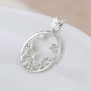 Silver plated circle and crystal stars necklace | Image 3