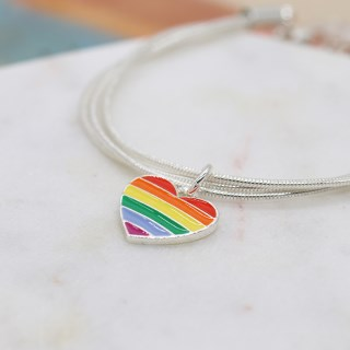 Silver plated triple strand bracelet with enamel rainbow | Image 3