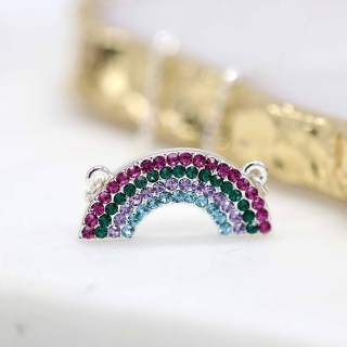 Silver plated pink and green crystal rainbow necklace | Image 3
