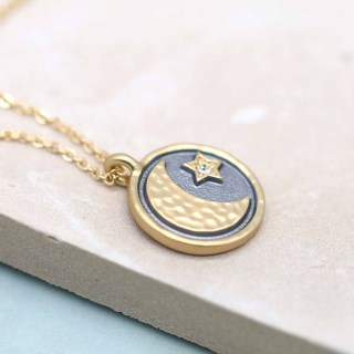 Golden and grey enamel necklace with moon, star and crystal | Image 2