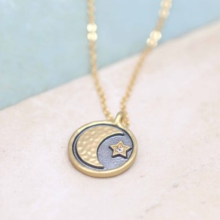 Golden and grey enamel necklace with moon, star and crystal | Image 3