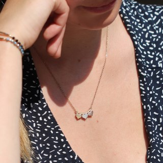 Silver, gold and rose gold triple hearts necklace | Image 4