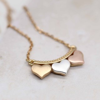 Silver, gold and rose gold triple hearts necklace | Image 2