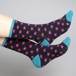 Navy bamboo socks with pink stars and lurex | Image 2