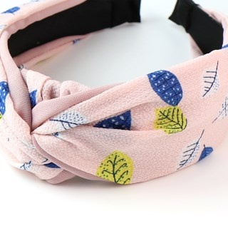 Pink fabric covered headband with leaf print | Image 2