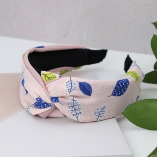 Pink fabric covered headband with leaf print | Image 3