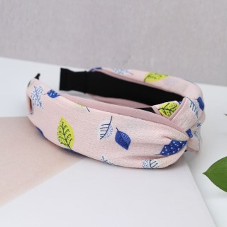 Pink fabric covered headband with leaf print | Image 4