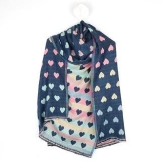 Reversible pastel and denim blue jacquard heart scarf | Image 5