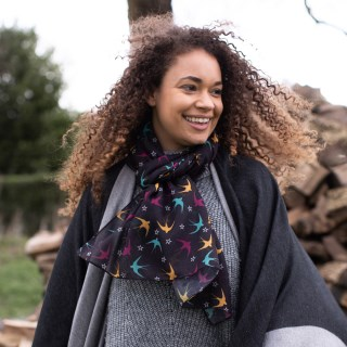 Dark recycled scarf with swallows and stars print | Image 2