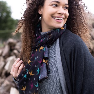 Dark recycled scarf with swallows and stars print | Image 3