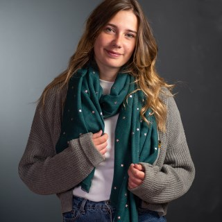 Teal green loose weave scarf with rose gold stars | Image 2