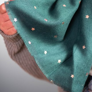 Teal green loose weave scarf with rose gold stars | Image 3