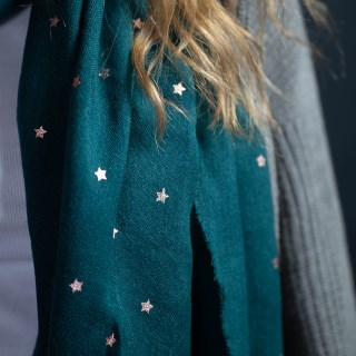 Teal green loose weave scarf with rose gold stars | Image 5