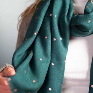 Teal green loose weave scarf with rose gold stars | Image 4