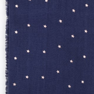 Navy blue loose weave scarf with rose gold stars | Image 5