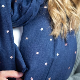 Navy blue loose weave scarf with rose gold stars | Image 3