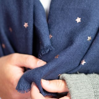 Navy blue loose weave scarf with rose gold stars | Image 4