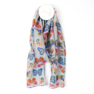 Grey silk scarf with multi colour butterfly print | Image 2