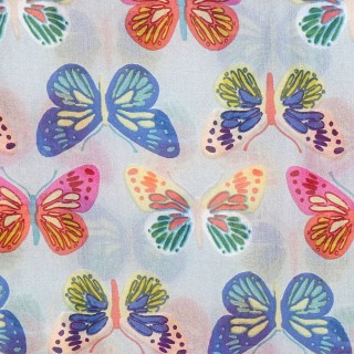 Grey silk scarf with multi colour butterfly print | Image 3