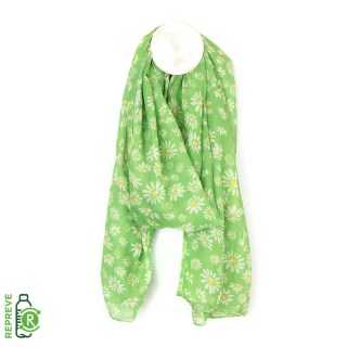 Recycled green mix daisy print scarf | Image 2