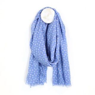 Blue cotton scarf with white multi star print | Image 2