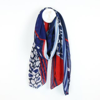 Blue and red crinkle scarf with animal prints and stripes | Image 2