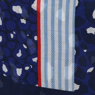 Blue and red crinkle scarf with animal prints and stripes | Image 3