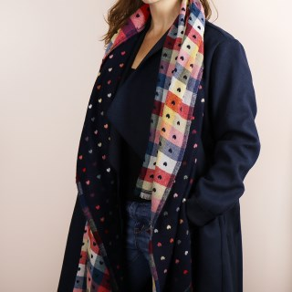 Navy blue and multi check scarf with little reversible jacquard hearts | Image 4