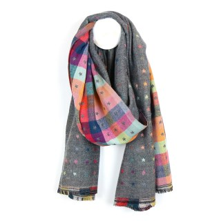 Grey and multi check scarf with little reversible jacquard stars | Image 2