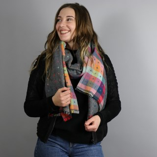 Grey and multi check scarf with little reversible jacquard stars | Image 3