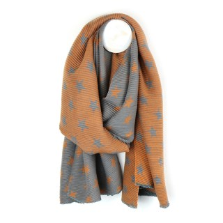 Orange and grey reversible pleated star scarf | Image 2