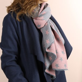 Pink and grey reversible pleated star scarf | Image 2