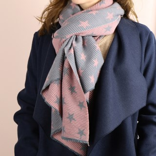 Pink and grey reversible pleated star scarf | Image 3