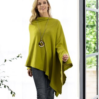 Fine knit cotton poncho in lime green | Image 2