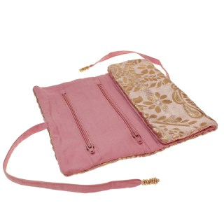 Pink velvet and rose gold paisley jewellery wrap | Image 2