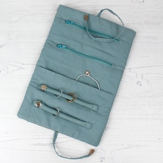 Aqua velvet and rose gold paisley jewellery wrap | Image 2