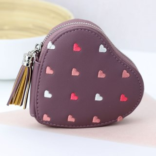 Mulberry heart shaped purse with embroidery and tassel | Image 4
