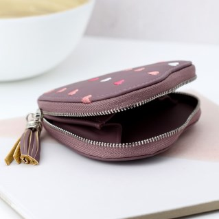 Mulberry heart shaped purse with embroidery and tassel | Image 3