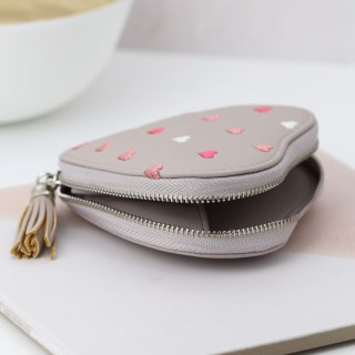 Taupe grey heart shaped purse with embroidery and tassel | Image 5